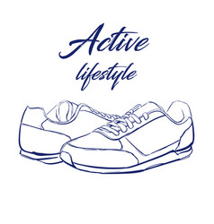 sketch running sneakers vector image