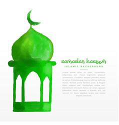 Hand painted green mosque design vector
