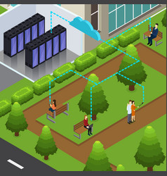 Isometric cloud technology concept vector