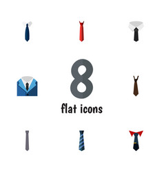 Flat icon tie set of necktie tie textile and vector