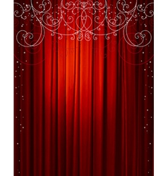 Christmas red curtain vector