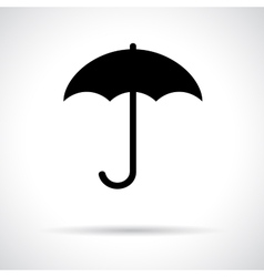 Umbrella black flat icon with shadow vector