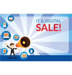 Businessman and megaphone announce digital sale vector