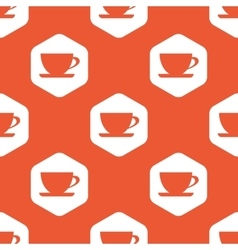 Orange hexagon cup pattern vector