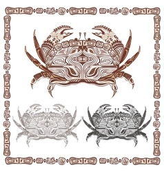 Ornamental decorative crab in black and brown vector