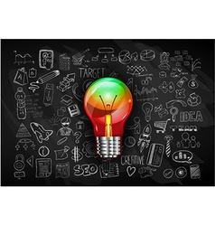 Idea concept with light bulb and doodle sketches vector