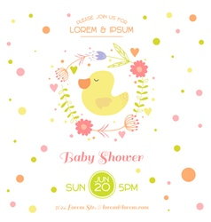 Baby shower card - with cute duck vector