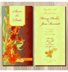Wedding invitation card with red iris flower vector