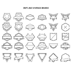 Outline vintage label collection vector