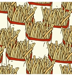 Seamless pattern with french fries in a paper vector