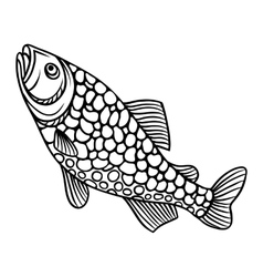 Abstract decorative fish on white background vector image