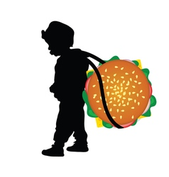 Child holding hamburger vector