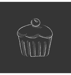Cupcake with cherry drawn in chalk icon vector