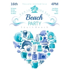 Beach party invitation in blue color with icons in vector