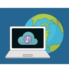 Laptop icon music online and technology vector