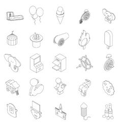 Amusement park icons set isometric 3d style vector