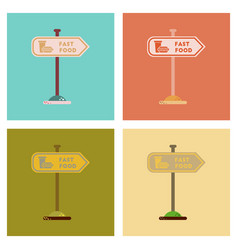 Assembly flat icons fast food sign vector