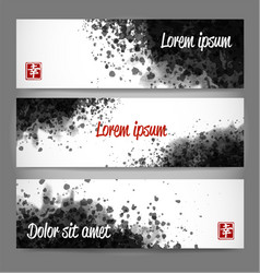 Banners with black grunge splashes on realistic vector