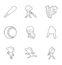 baseball player icons set outline style vector image