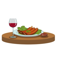 BBQ ribs and a glass of wine vector image