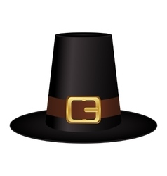 Black hat with a gold buckle on white background vector image