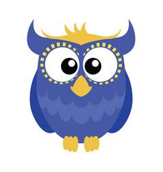 blue cartoon owl vector image