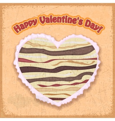 cake in a heart-shaped Valentines Day vector image vector image