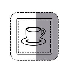 Contour emblem cup with plate icon vector