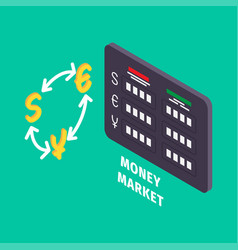 currency exchange and table of money market icon vector image vector image