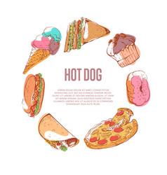 Delicious hot dog menu with fast food sketches vector