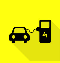 Electric car battery charging sign black icon vector