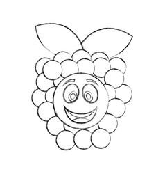 Grapes fresh fruit kawaii character vector