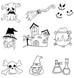 Halloween castle element doodle vector