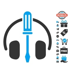 Headphones tuning screwdriver icon with free bonus vector