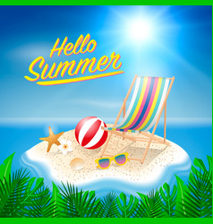 Hello summer background beach island background vector