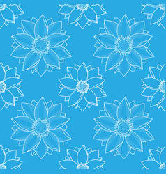 Lotus blue seamless pattern vector