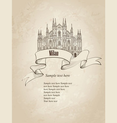 Milan city landmark travel italy engraved sign vector
