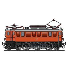 Old orange electric locomotive vector