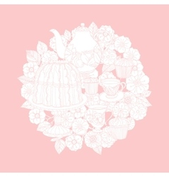 Pastel Floral tea time vector image