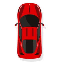 red sport car top view in flat style isolated on vector image vector image