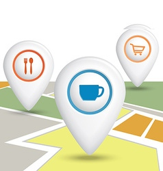 Set Map Location Icons vector image vector image
