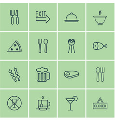 Set of 16 eating icons includes stick batbecue vector