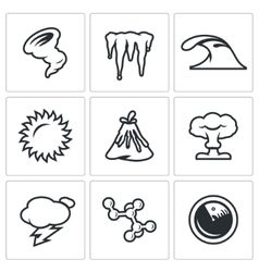 Set of cataclysm icons tornado frost vector