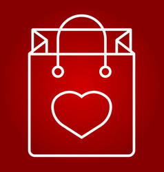 shopping bag with heart line icon valentines day vector image vector image
