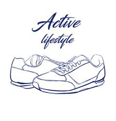 Sketch running sneakers vector