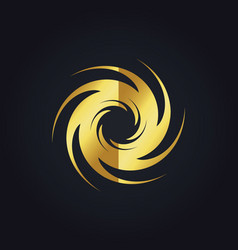 Spin abstract swirl gear gold logo vector