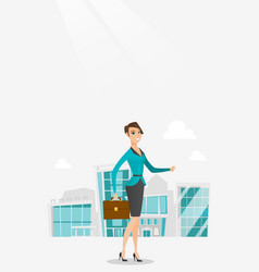Successful business woman walking in the city vector