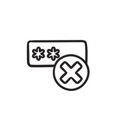 Wrong password sketch ico vector