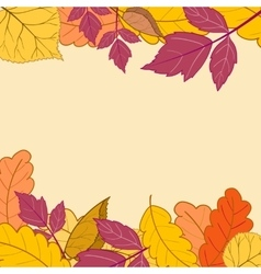 Frame with bright autumn leaves-01 vector image