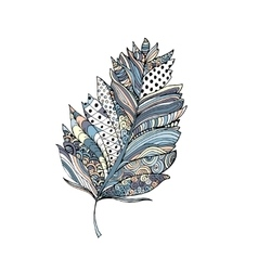 Feather in doodle style Ornamental colorful fill vector image